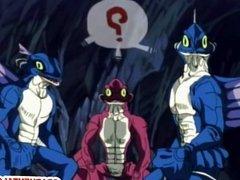 Cute hentai threesome monsters groupfucked