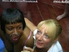 Blonde Milf & Chubby Ebony Sharing Cum Facial