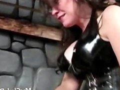 poor slave strapon fucked by 2 mistresses