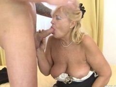 Granny licking dick young guy