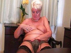 Full figured granny masturbates with a dildo