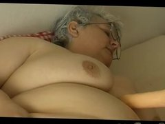 Old BBW Granny with big boobs masturbate with
