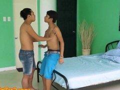 Twink teen asian gives boyfriend head