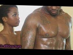 Ebony couple under shower