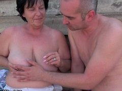 Granny with 1 inch nipples fucked outdoors