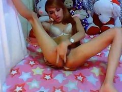 Tranny Masturbating her Hard Dick
