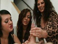 Cfnm femdom group giving handjob