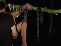 Little bitch tied and fucked in the forest