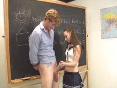 Cute Schoolgirl Jerks Off Her Teacher