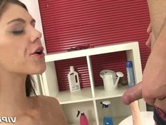 She uses piss to rinse off the gooey cum