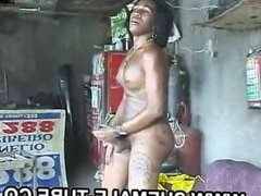 Grace Shemale Ebony Huge Cock Blowjob