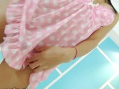 Alluring ladyboy babe Aor jerks off cock