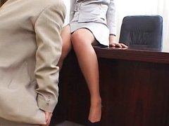 Nylon office secretary pantyhose foot fetish