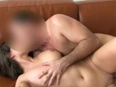 Busty brunette fucked on leather couch