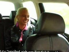 Blonde hottie fucked from behind in taxi