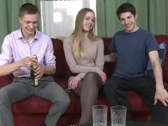 Dissolute girl banging with two guys
