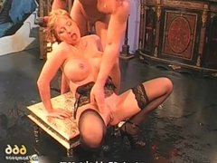 Nasty blonde slut gets pissed hard