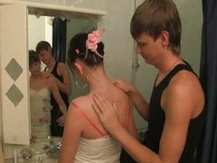 Small tit teen banged in the bathroom