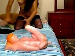 Brunette Babe Riding Dildo Anal
