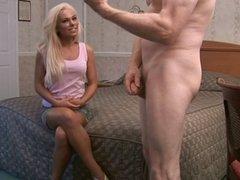 Cfnm blonde gives guy blowjob and masturbates