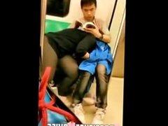 Blowjob asian girl in full metro