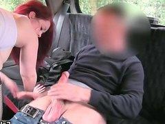 Busty redhead slut gets horny sucking
