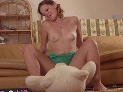 Amateur cutie fucking a teddy bear