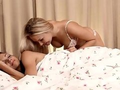 Cute blonde girl having sensual sex