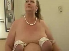 Granny ties her tits and get fucked