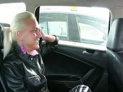 Hot blonde tight pussy fucked in fake taxi
