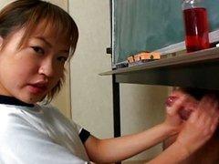 Japanese cutie Itsuki Wakana wanks a hard