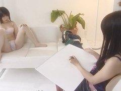 Cute Japanese lesbians enjoy some kinky light