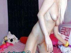 Petite blonde dildo masturbation