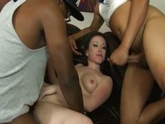 Pale skinned whore interracial gangbang