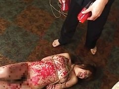 Kinky Asian slavegirl gets drenched in molten