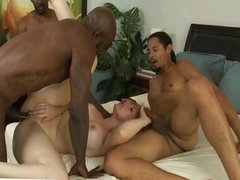 Big tit shaved whore invaded by black cocks