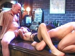 Bar threesome with brunette