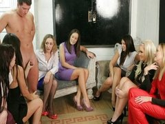 Femdoms in group humiliating their sub in hot