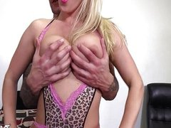 Hot blonde sucks cock with real passion