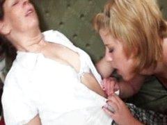 Hot blonde lesbian girl is sitting