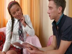 Sexy schoolgirl Zufia gives head and gets fac