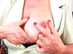 Granny with big tits finger fucks old pussy