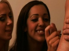 Cfnm babe in group give guy bj