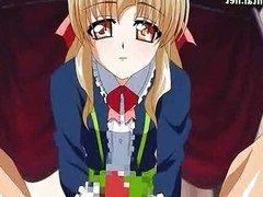 Sweet anime girl doing handjob