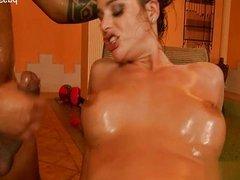 Natural tits shaved pussy dicksucking