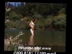 Natural redhead getting off by river voyeur s