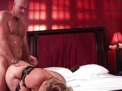Hot blonde slut gets horny sucking