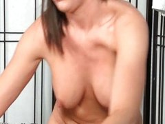 Sexy brunette girl gets horny sucking