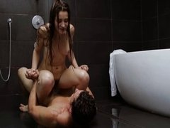 Dani Daniels rides on a cock in shower