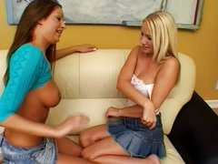 Hot babes try strap on